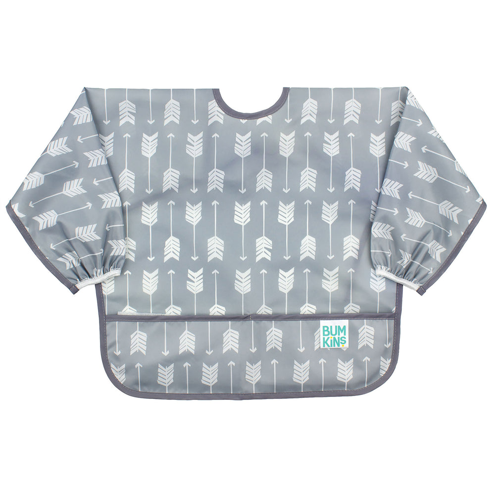 gray sleeved baby bib