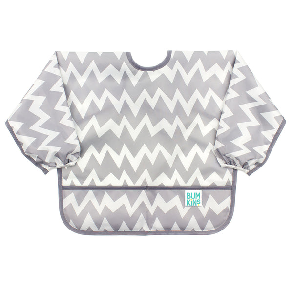 Sleeved Bib: Gray Chevron