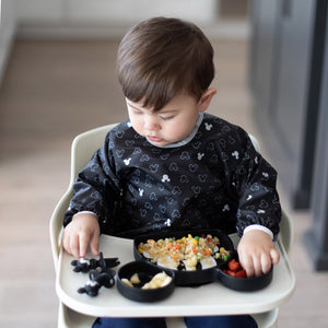 Sleeved Bib: Mickey Mouse Icon Black + White