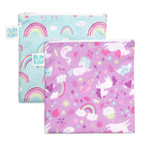 Reusable Snack Bag, Large 2-Pack: Rainbows & Unicorns