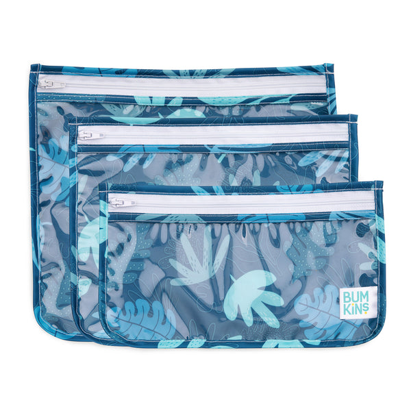 Clear Travel Bag 3 Pack: Blue Tropic
