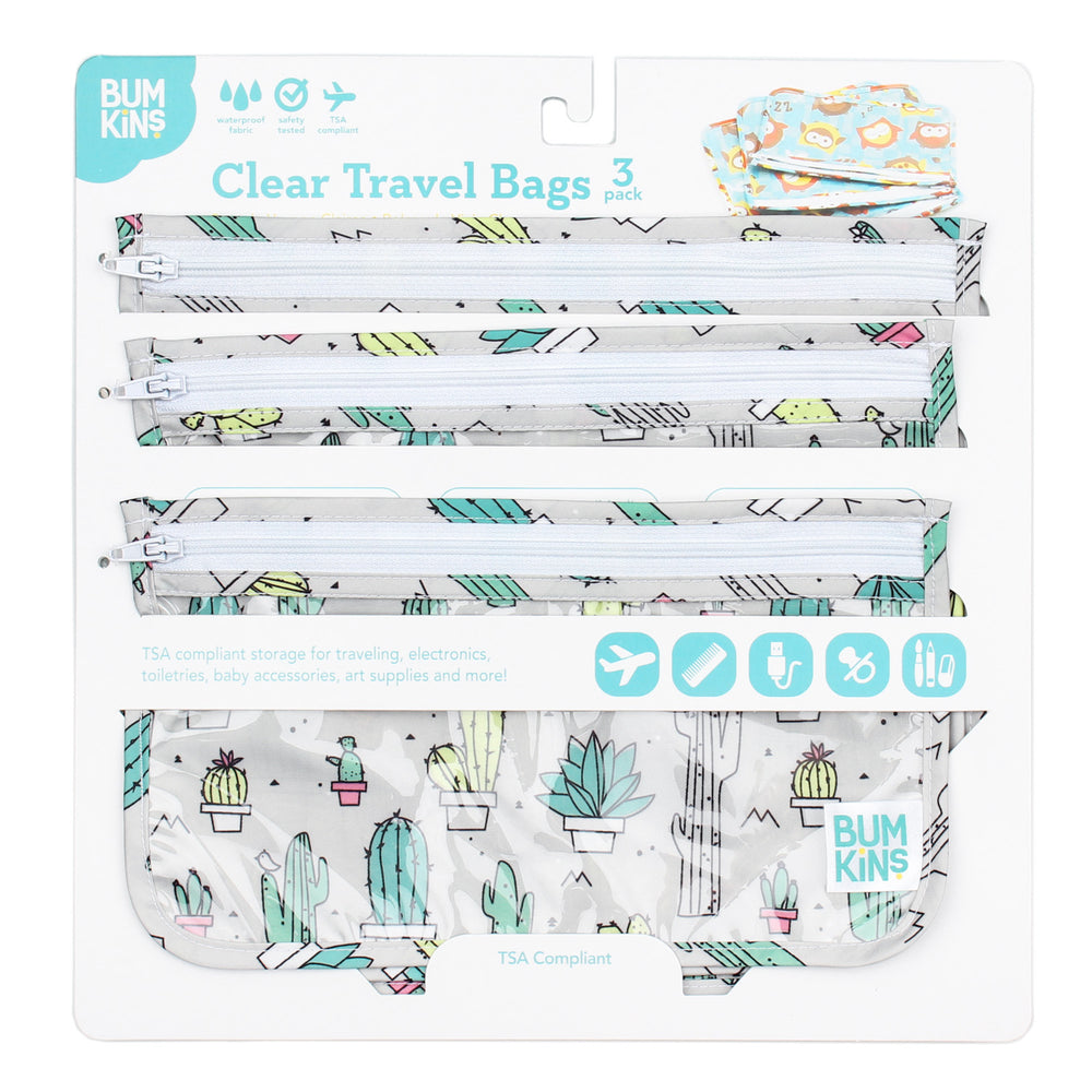 Clear Travel Bag 3-Pack: Cacti