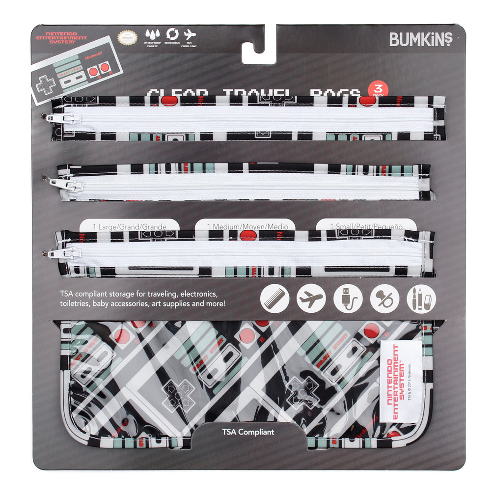 Clear Travel Bag 3-Pack: NES Controller