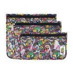 3 clear travel bags with super mario characters