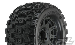 "10127-10 Badlands MX38 3.8"" All Terrain Tires Mounted on Raid Black 8x32 Removable Hex Wheels (2) for 17mm MT Front or Rear"