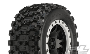10131-13 Pro-Line Badlands MX43 Pro-Loc All Terrain Tires (2) Mounted on Impulse Pro-Loc Black Wheels with Stone Gray Rings for X-MAXX Front or Rear