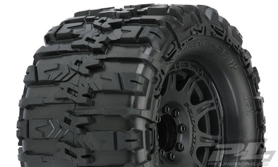 "10155-10 Trencher HP 3.8"" All Terrain BELTED Truck Tires Mounted on Raid Black 8x32 Removable Hex Wheels (2) for 17mm MT Front or Rear E-REVO® 2.0 SUMMIT® Tekno MT410 ARRMA Kraton Other Monster Trucks with 17mm Hexes"