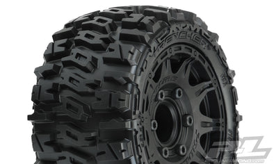 "10159-10 Trencher LP 2.8"" All Terrain Tires Mounted on Raid Black 6x30 Removable Hex Wheels (2) for Rustler® 2wd & 4wd Front and Rear"