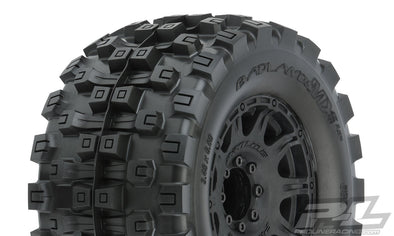 "10166-10 Badlands MX38 HP 3.8"" All Terrain BELTED Tires Mounted on Raid Black 8x32 Removable Hex Wheels (2) for 17mm MT Front or Rear"