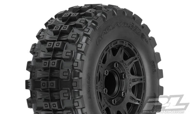 "10174-10 Badlands MX28 HP 2.8"" All Terrain BELTED Truck Tires Mounted on Raid Black 6x30 Removable Hex Wheels (2) for Stampede® 2wd & 4wd Front and Rear"