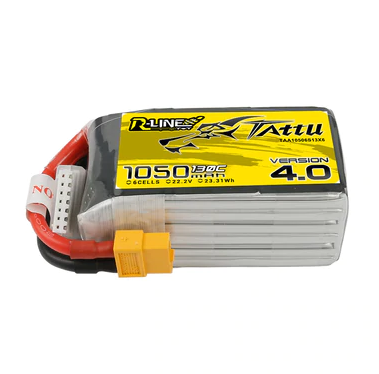 Tattu R-Line Version 4.0 1050mAh 22.2V 130C 6S1P Lipo Battery Pack With XT60 Plug