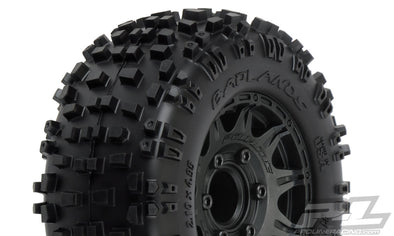 "1173-10 Badlands 2.8"" All Terrain Tires Mounted on Raid Black 6x30 Removable Hex Wheels (2) for Stampede® 2wd & 4wd Front and Rear"