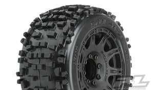 "1178-10 Badlands 3.8"" All Terrain Tires Mounted on Raid Black 8x32 Removable Hex Wheels (2) for 17mm MT Front or Rear"