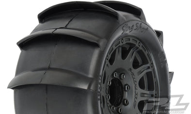"1179-10 Sling Shot 3.8"" Sand Tires Mounted on Raid Black 8x32 Removable Hex Wheels (2) for 17mm MT Front or Rear ("