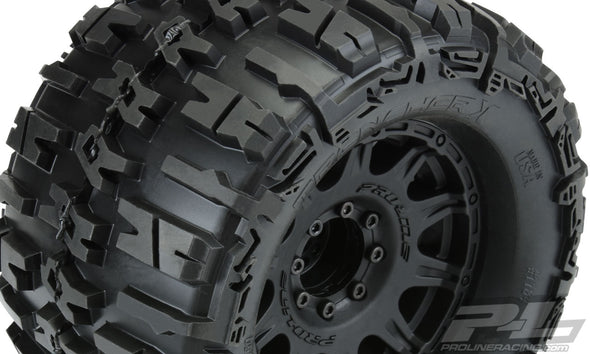 "1184-10 Trencher X 3.8"" All-Terrain Tires Mounted on Raid Black 8x32 Removable Hex Wheels (2) for 17mm MT Front or Rear"