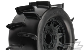 "1186-10 | Sand Paw 2.8"" Sand Tires Mounted on Raid Black 6x30 Removable Hex Wheels (2) for Stampede® 2wd & 4wd Front and Rear"