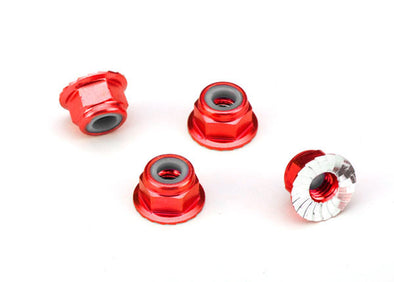 1747A Traxxas 4mm Aluminum Flanged Serrated Nuts (Red) (4)