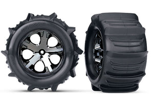 "3689 Traxxas Tires & Wheels, Assembled, Glued (2.8"") (All-Star Black Chrome Wheels, Paddle Tires, Foam Inserts) (Electric Rear) (2) (TSM Rated)"