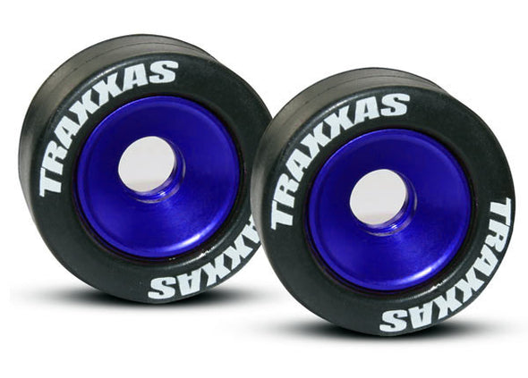 5186A Wheels, aluminum (blue-anodized) (2)/ 5x8mm ball bearings (4)/ axles (2)/ rubber tires (2)