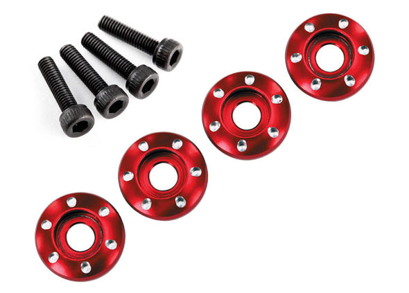 7668R Traxxas LaTrax Aluminum Wheel Nut Washer (Red) (4)
