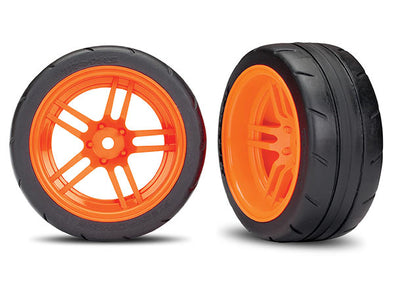 "8374A Tires and wheels, assembled, glued (split-spoke orange wheels, 1.9"" Response tires) (extra wide, rear) (2) (VXL rated)"