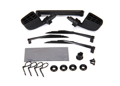 8817 Traxxas Mirrors, side, black (left & right)/ o-rings (4)/ windsh