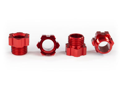 8886 Stub axle nut, aluminum (red-anodized) (4)
