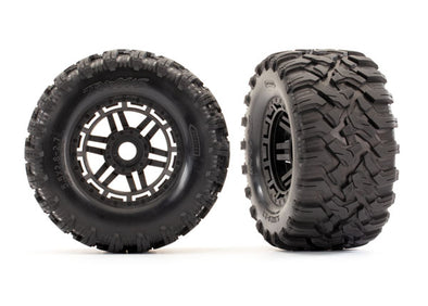 8972 Tires & wheels, assembled, glued (black wheels, Maxx® All-Terrain tires, foam inserts) (2) (17mm splined) (TSM® rated)