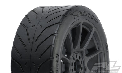 9069-21 Avenger HP S3 (Soft) Street BELTED 1:8 Buggy Tires Mounted on Mach 10 Black Wheels (2) for Front or Rear