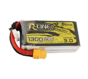 Tattu R-Line Version 3.0 1300mAh 14.8V 120C 4S1P Lipo Battery Pack with XT60 Plug