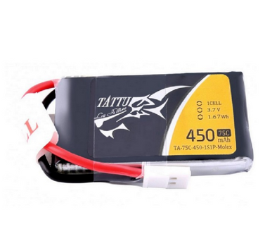 Tattu 75C 1S1P 3.7 v 450mah Lipo Battery Pack with Molex Plug
