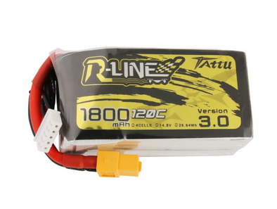 Tattu R-Line Version 3.0 1800mAh 14.8V 120C 4S1P Lipo Battery Pack with XT60 Plug