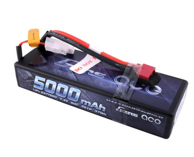 Gens ace 5000mAh 7.4V 50C 2S1P HardCase Lipo Battery Pack 24# with Deans Plug