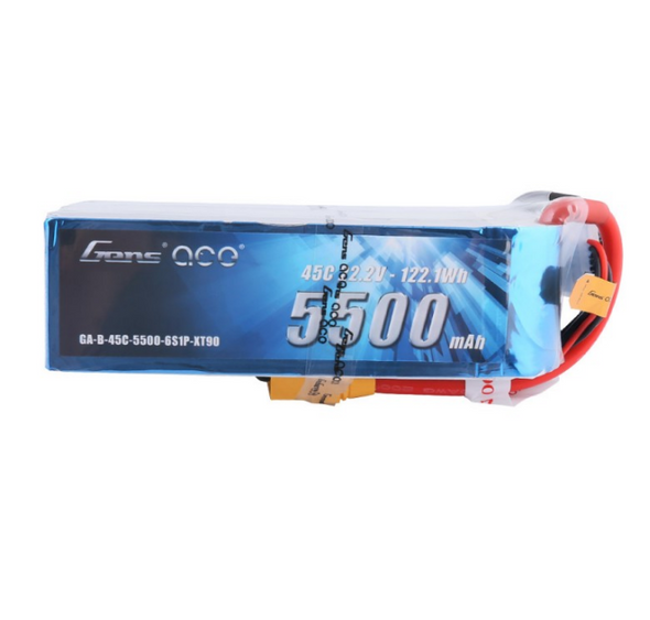 Gens ace 5500mAh 22.2V 45C 6S1P Lipo Battery Pack with XT90 Plug