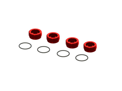 ARA320467 ALUMINUM FRONT HUB NUT (RED) (4PCS INC. O-RINGS)