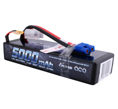 Gens ace 5000mAh 7.4V 50C 2S1P HardCase Lipo Battery Pack 24# with EC3 Plug