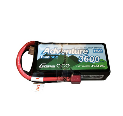 Gens Ace Adventure High Voltage 3600mAh 3S1P 11.4V 50C Lipo Battery with Deans Plug GA6330