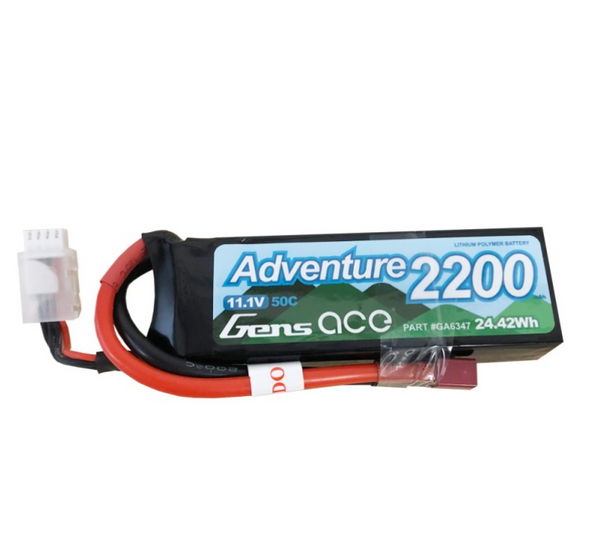 Gens Ace Adventure 2200mAh 3S1P 11.1V 50C Lipo Battery with Deans Plug for RC Crawler GA6347