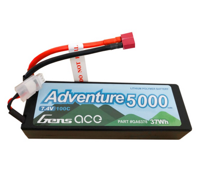 Gens ace Adventure 5000mAh 7.4V 100C 2S1P HardCase Lipo Battery Pack 24# with Deans Plug GA6378
