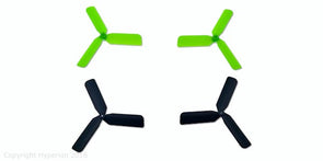 KINGKONG MINI TRI-BLADE PROPELLERS FOR Q90 (BLACK&GREEN CW&CCW SETS)