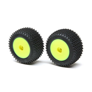 LOS41009 Step Pin Mounted Rear Tires, Yellow (2):  Mini-T 2.0
