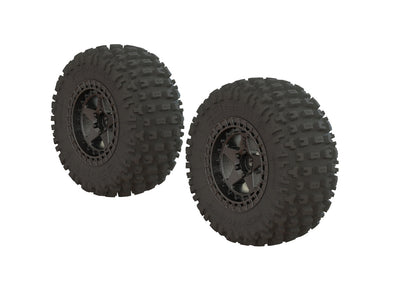 ARA550087 DBOOTS 'FORTRESS SC' TIRE SET GLUED (Black Chrome) (2pcs)AR550043