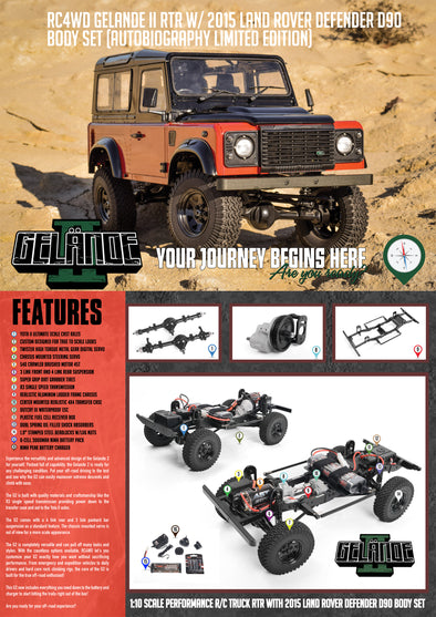 Z-RTR0043 RC4WD GELANDE II RTR W/ 2015 LAND ROVER DEFENDER D90 BODY SET (AUTOBIOGRAPHY LIMITED EDITION)