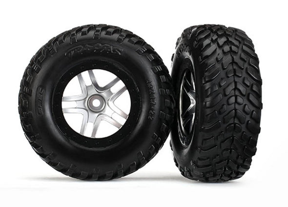 "6892  Tires & wheels, assembled, glued (SCT Split-Spoke satin chrome, black beadlock style wheels, dual profile (2.2"" outer, 3.0"" inner), SCT off-road racing tires, foam inserts) (2) (4WD f/r, 2WD rear) (TSM rated)"