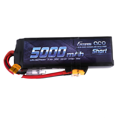 Gens ace 5000mAh 7.4V 50C 2S1P Short-Size Lipo Battery Pack with XT60 Plug +adapter traxxas