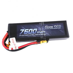 Gens Ace - 194 - 7600mAh 2S2P 7.4v 50C LiPo XT60 Plug Soft Case 153x47x29mm with Traxxas adapter