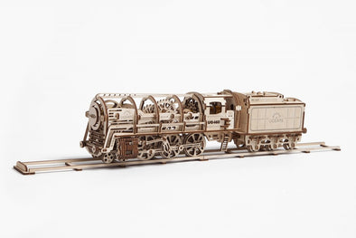 UGears Steam Locomotive with Tender - 443 pieces