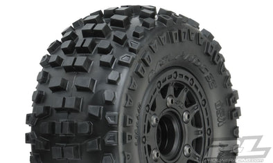 "1182-10  Badlands SC 2.2""/3.0"" M2 (Medium) Tires Mounted on Renegade Black Wheels"