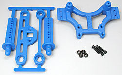 80165 Shock Tower/Adj Mount Blue T/E-Maxx