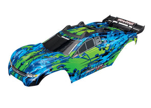 Traxxas Body, Rustler 4X4 VXL, green/ window, grill, lights dec